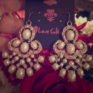 Vintage pearl style chandelier earrings.
